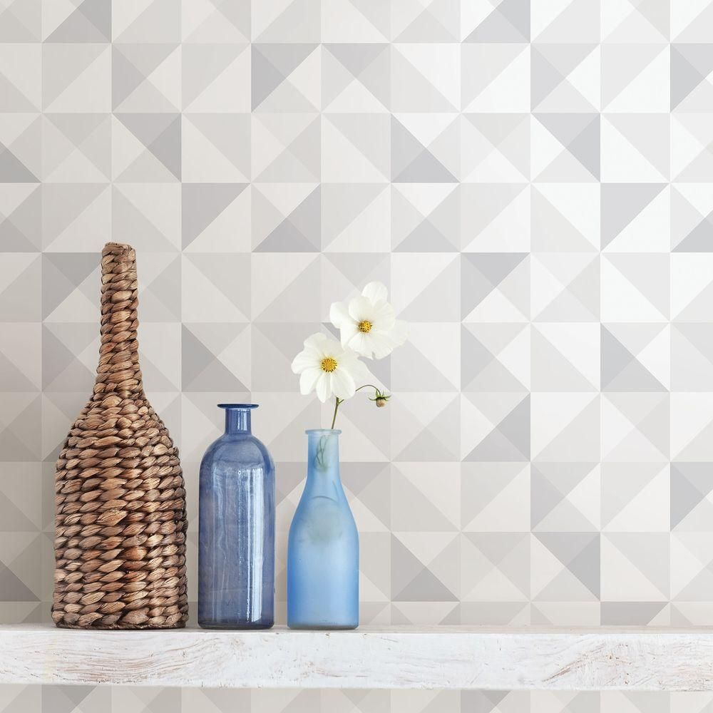 Brewster White Geometric Wallpaper Geometric Wallpaper