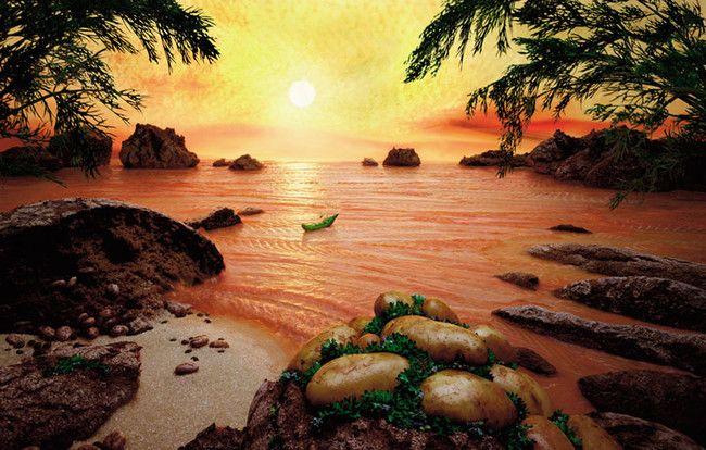 Paisajes gastronómicos de Carl Warner - Salmón Sea