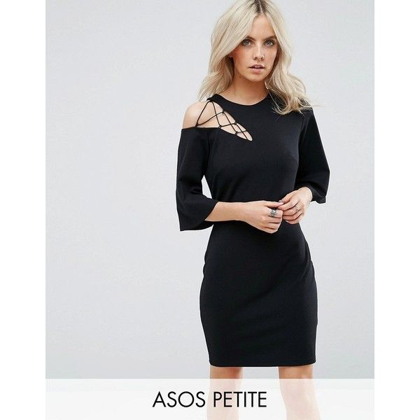 50cdd3d5610d ASOS PETITE Fluted Sleeve Shift Dress with Ladder Detail (£38) ❤ liked on