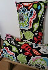 TWO GORGEOUS DESIGNER FABRIC COVERED CUSHIONS HEDGEHOG OWL PATTERN