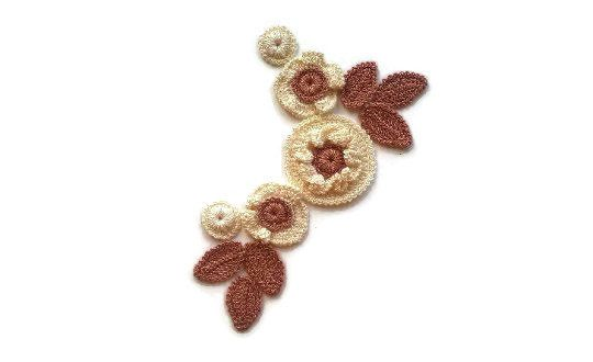Irish crochet lace, Cotton applique, Flowers ornament, Crochet boutonniere #irishcrochetflowers
