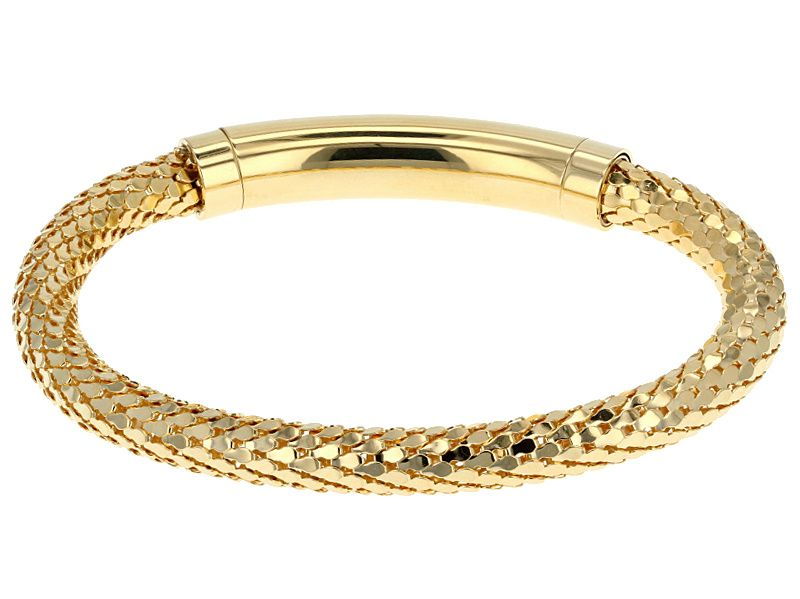 Moda al massimo 18k yellow gold over bronze diamond cut mesh link bracelet