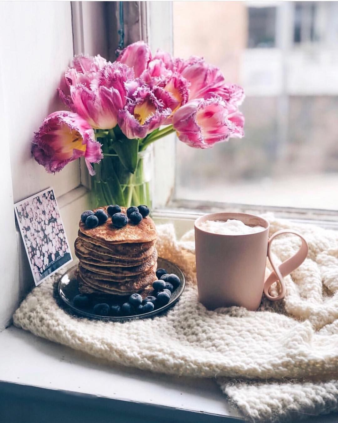 Fresh Cuppa And Pancakes By The Window How Dreamy By Birgittetheresa Naughtyteas Chosen By Mang Coffee Breakfast Coffee Photography Winter Coffee