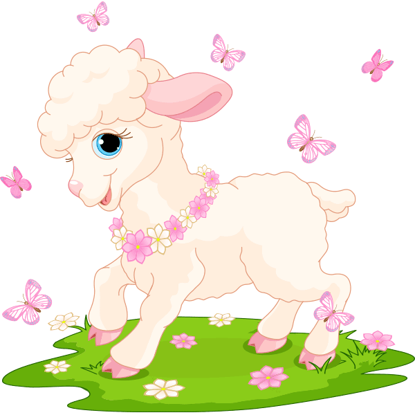 This Lamb Came Straight Out Of The Nursery Rhyme To Wish Everyone A Cheerful Day Easter Lamb Kids Poster Butterfly Illustration