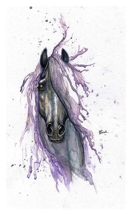 Tattoo horse original watercolur painting