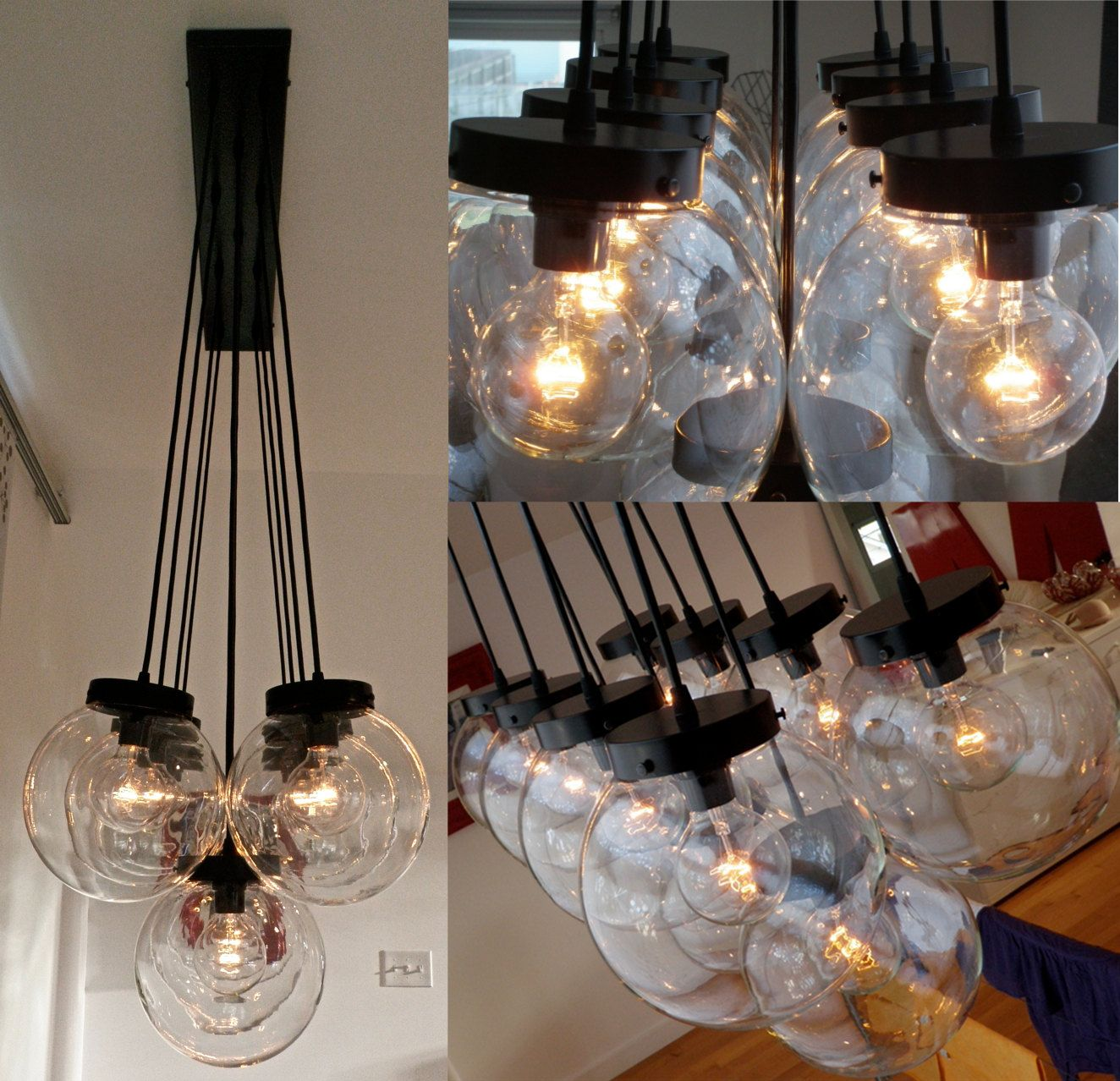 Stasis Globe Chandelier 11 Large Hanging Clear Glass Globes Luces