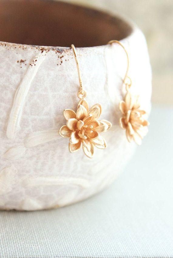 Lotus Flower Earrings Gold Daisy Drop Earrings Mothers Day Gift For