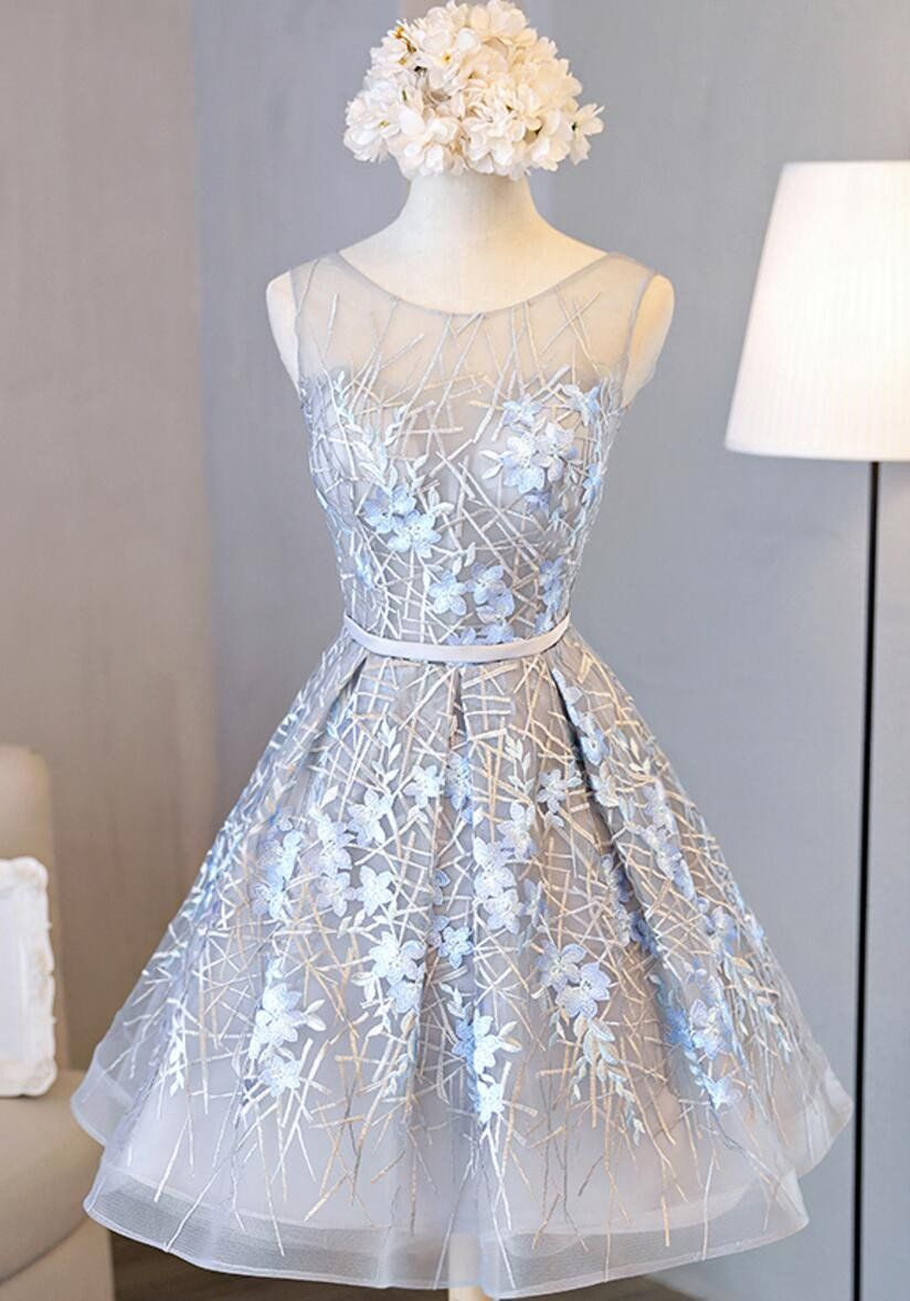 Scoop neckline grey and yellow lace homecoming prom dresses