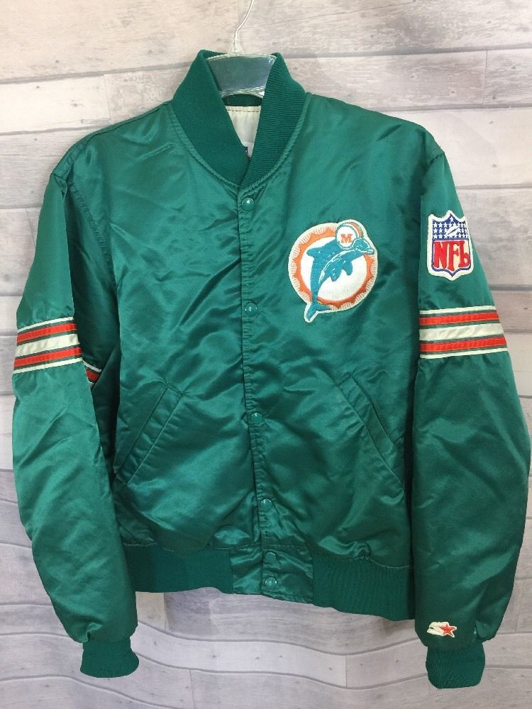 newest 81659 8a1ad Vintage Miami Dolphins Jacket Medium M NFL Pro Line Starter ...