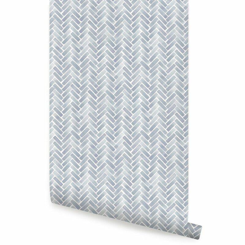 Magellan Watercolor Herringbone Paintable Peel And Stick Wallpaper Panel Herringbone Wallpaper Peel And Stick Wallpaper Wallpaper Panels