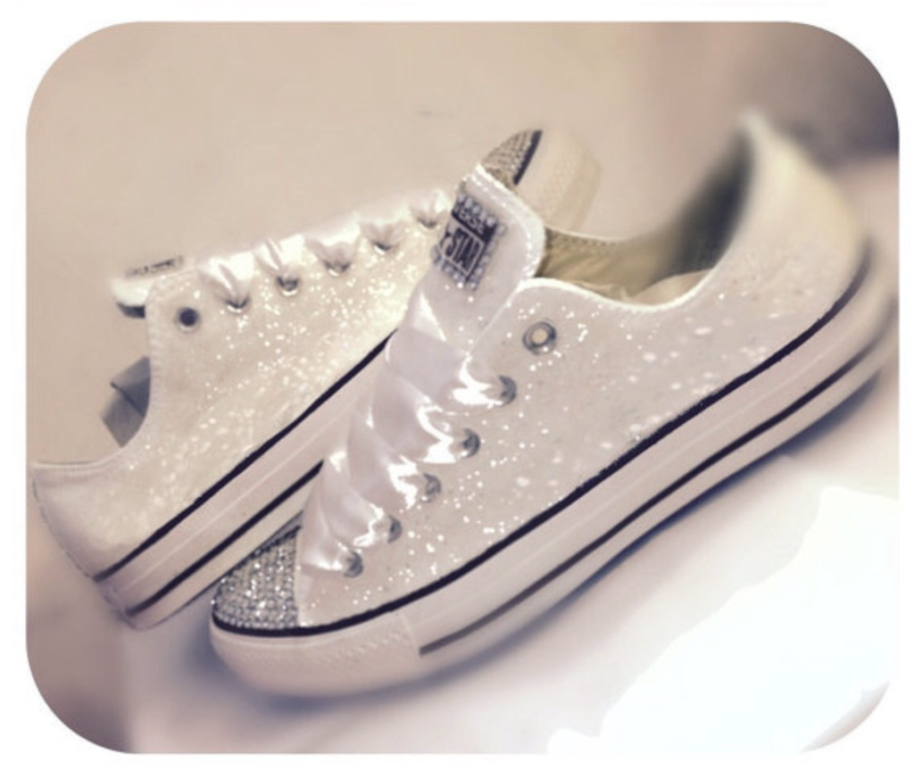 Women s White Converse All Star Chucks Crystal Bling Sneakers Prom Wedding  Shoes 5e20ecf65