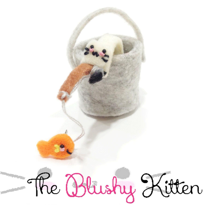 Gone Fishing Ear cuff and Stud Earrings set, Customised, Felt Kitten EarCuff, Felt Fishing Kitten Ear Cuff, Fishing Bucket Earring Holder by TheBlushyKitten on Etsy