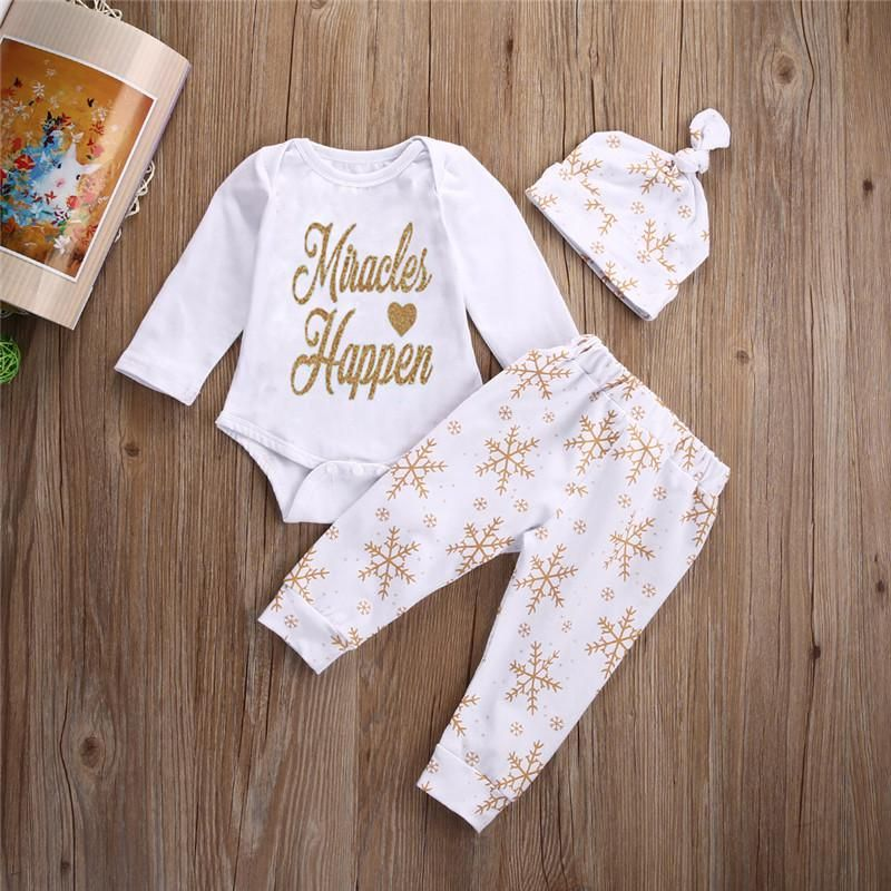 a2c0f5b265c8e Baby Girl Boy Snowflake Long Sleeve Bodysuit Romper Pants Legging And Hat  Outfits Set Christmas Gift Baby Winter Clothes