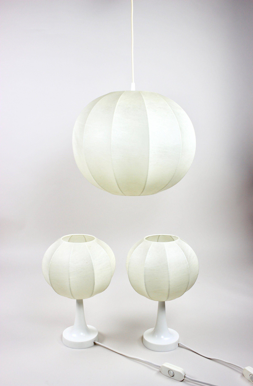Cocoon Lampen Set Von Linus Bopp Weisse Kokon Leuchten Hangelampe Und 2 Tischlampen 60er Jahre Midmodern Interior Lamp Decor Home Decor