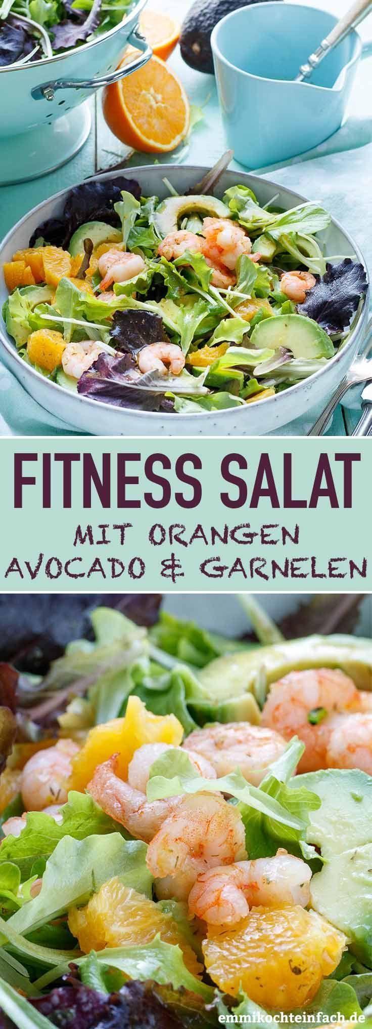Fitness Salat mit Orangen, Avocado und Garnelen   Ein schneller LowCarb und Power Salat nicht nur fü...
