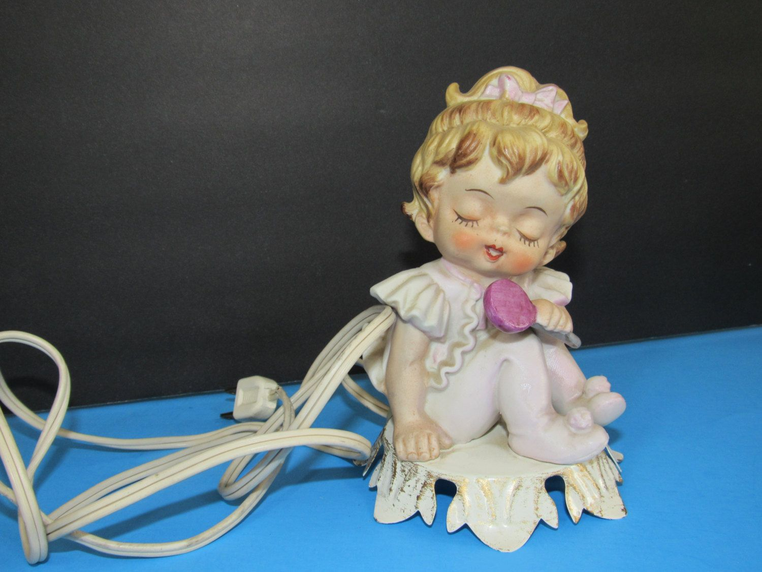 Vintage 1950s Aladdin Giftware porcelain little girl figurine Portable lamp by mariehotdeals on Etsy