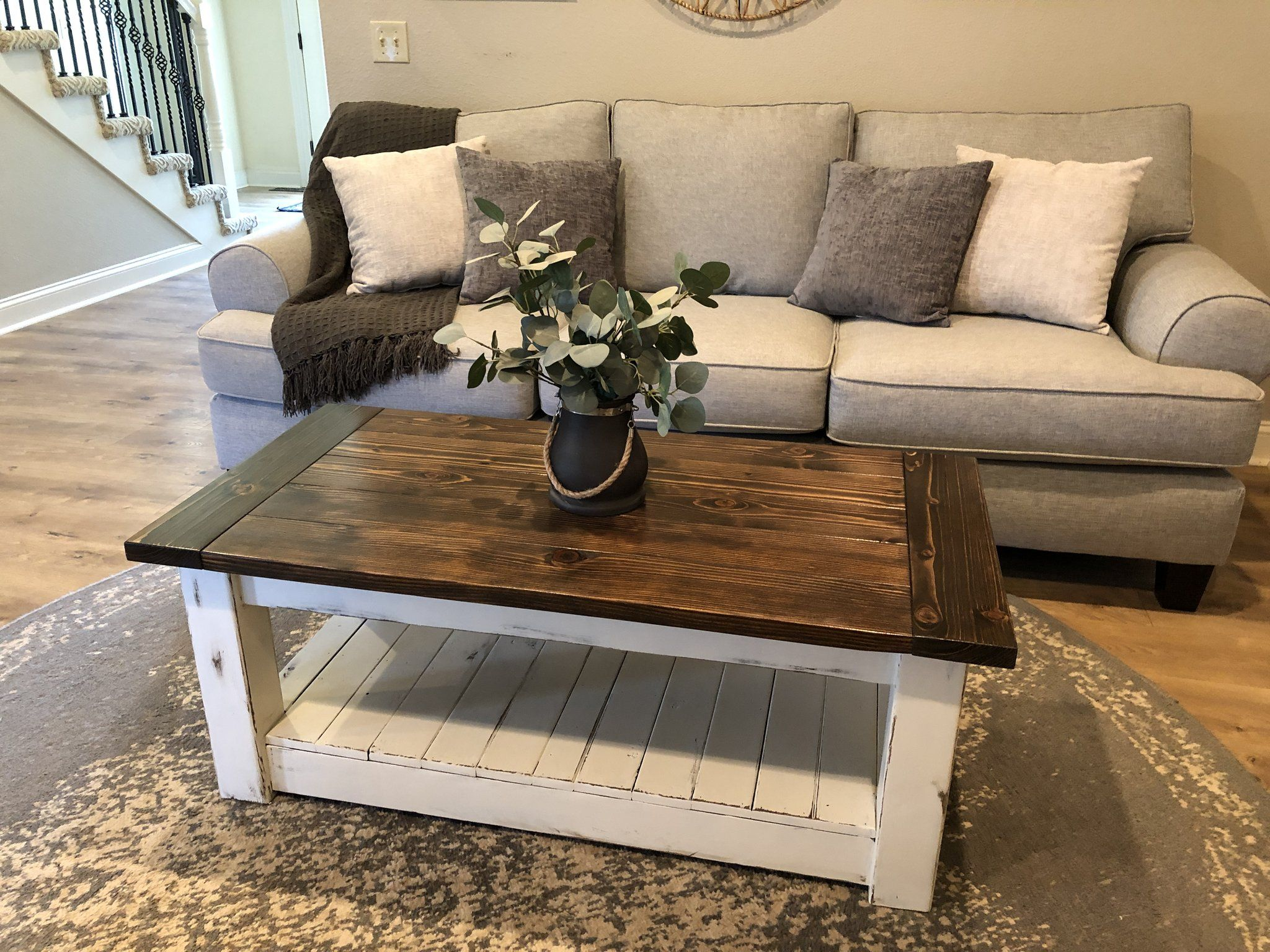 Chunky Farmhouse Coffee Table Clean Lines Distressed 48 Inch In