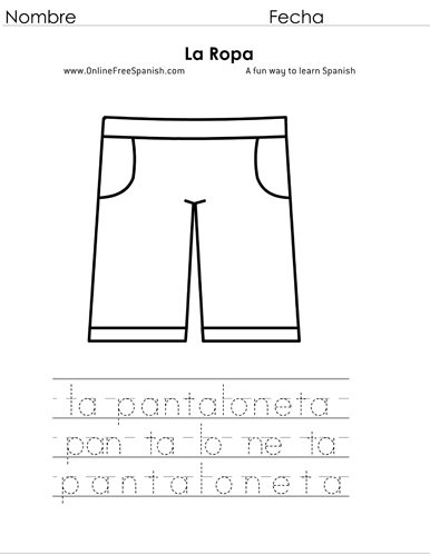 OnlineFreeSpanish.com - La Ropa - Clothes - Páginas para Colorear ...