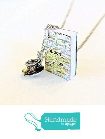Miniature London Map Book Necklace with Teacup Charm http://www.amazon.com/dp/B01ESB7GVC/ref=hnd_sw_r_pi_dp_61Qhxb0ENP4G2 #handmadeatamazon