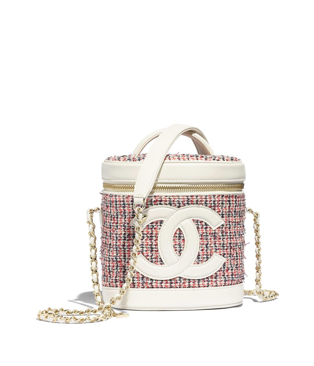 a2b4b316d Handbags of the Spring-Summer 2019 Pre-Collection CHANEL Fashion collection  : Vanity Case, tweed, lambskin & gold-tone metal, red, ecru, navy blue &  white ...