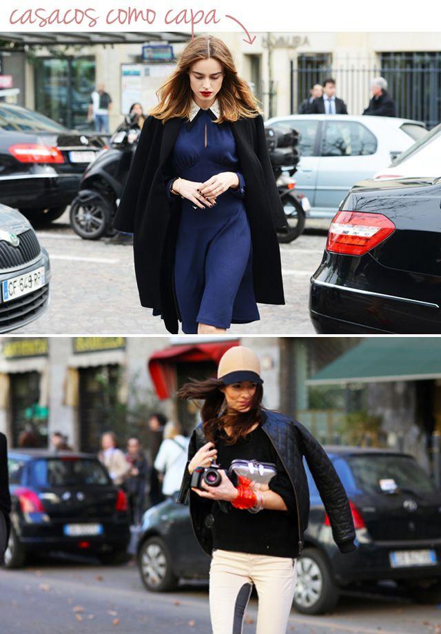 casaco em 2013. A vontade? Um truque de styling dos mais bacanas e mania entre a mulherada do outro lado do mundo. Que tal usar o casaco como capa?Foi impos