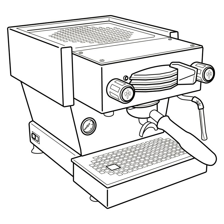 La Marzocco Linea Mini Lm Espresso Machine Illustration Coffee Machine Illustration My Coffee Shop Office Coffee Machines