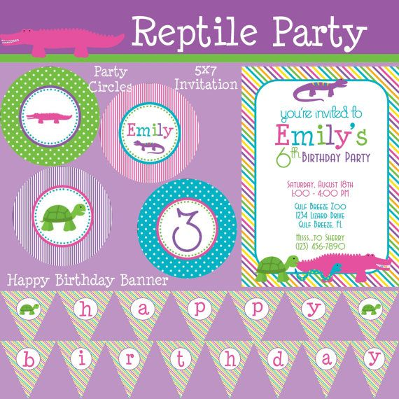 Reptile Girl Essentials Birthday Party Package Girl DIY Printable