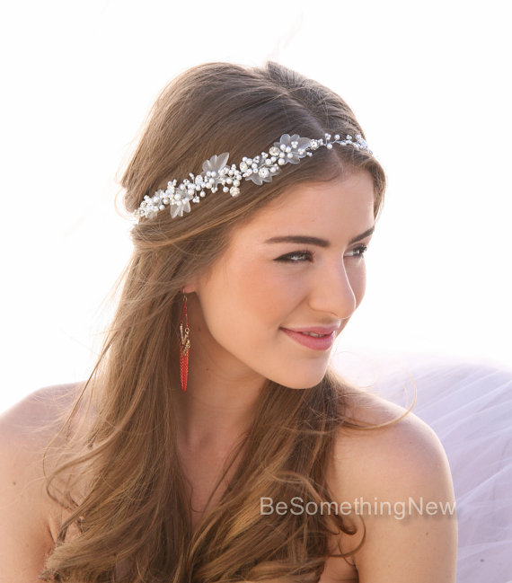 pearl and rhinestone wedding hair vine bridal hair accessories beaded wedding hair accessory ribbon tie boho wedding headpiece headband