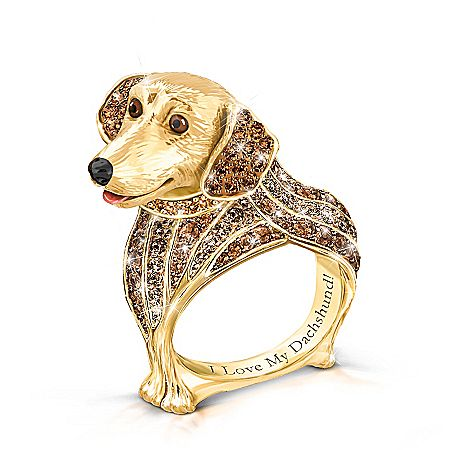 Best In Show Engraved 18k Gold Plated Dachshund Ring Dog Jewelry