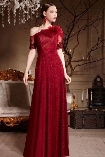 Robe soiree longue asymetrique