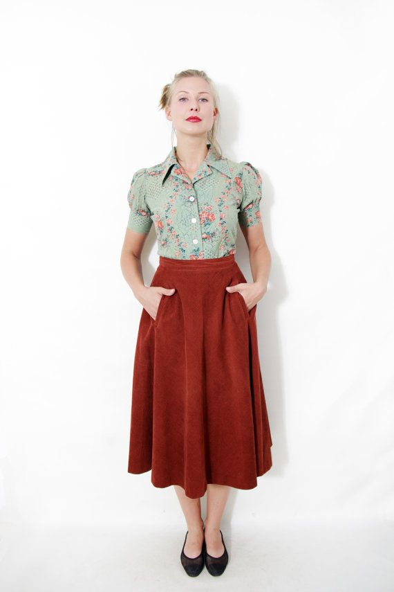 Vintage skirt / rust orange corduroy midi skirt / size L | Large ...