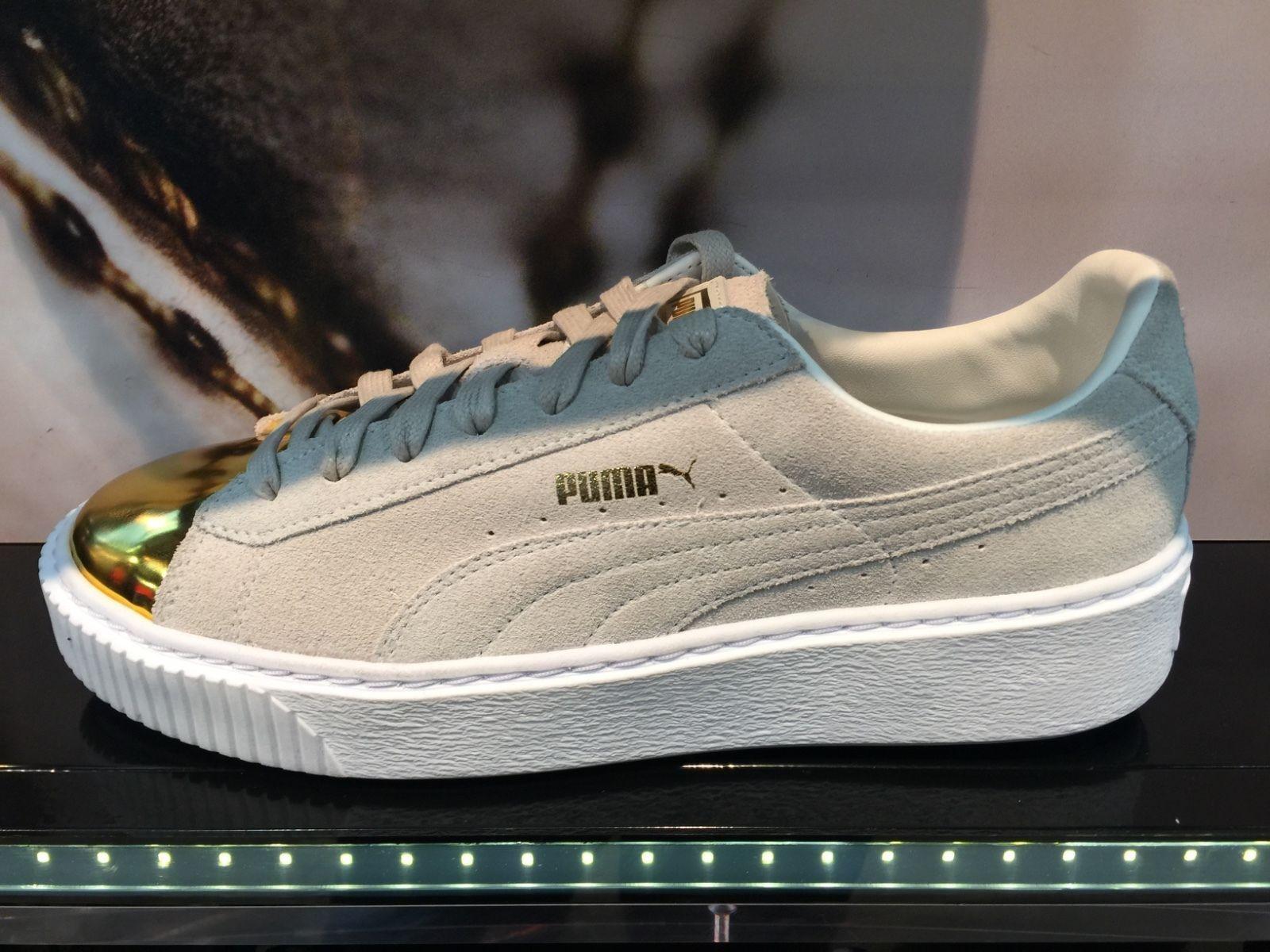 6c8923af40e Puma Platform Suede White Gold Toe Creeper Metallic Rihanna Fenty Women 6-11