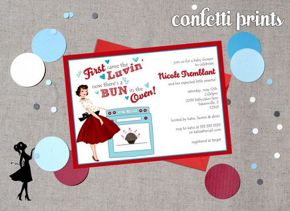 Retro Baby Shower Invitation Bun In The Oven Printable Baby