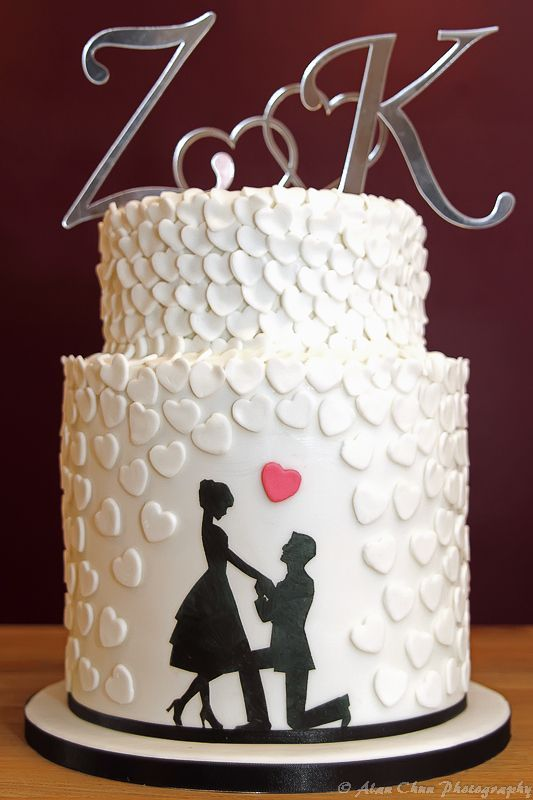 3 Tier Silhouette & Heart Engagement Cake …