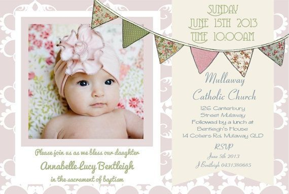 Baby girl birth announcement baptism birthday invitation card baby girl birth announcement baptism birthday invitation card bunting floral pastels diy printable photo stopboris Image collections