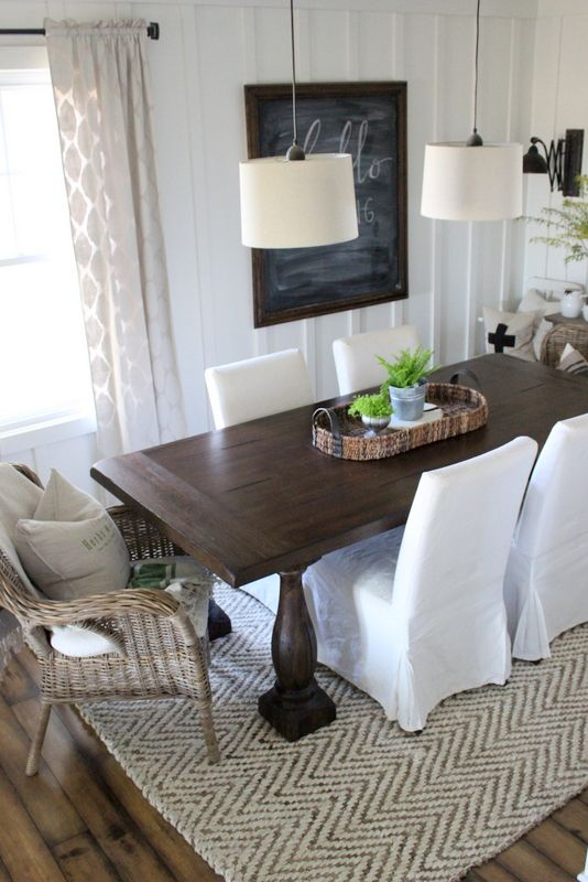A new table and rug home sweet home farmhouse dining - Dining room area rugs ideas ...