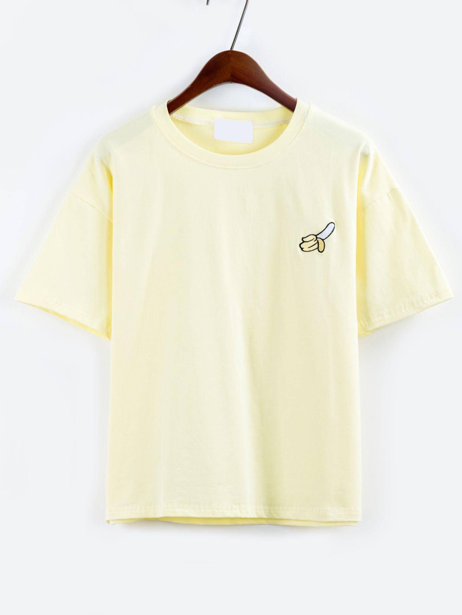 867ff9e9e Shop Banana Embroidered Drop Shoulder Yellow T-shirt online. SheIn offers  Banana Embroidered Drop Shoulder Yellow T-shirt & more to fit your  fashionable ...
