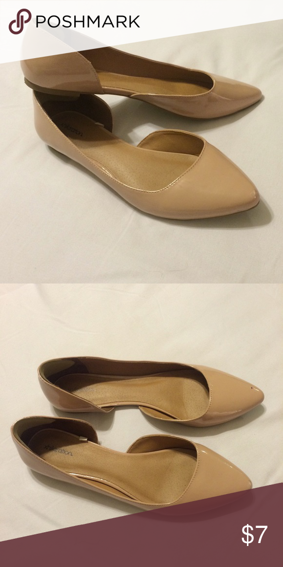 Patent nude d'orsay flats. Perfect for fall 🍁🍂 Patent nude d'orsay flats. Perfect for fall 🍁🍂 lightly worn. In great condition. Comfort heel strips added Xhilaration Shoes Flats & Loafers