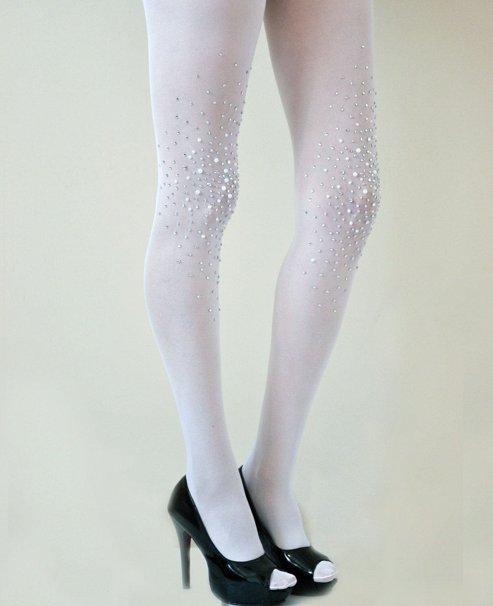 92257a636 Frost White Bridal Opaque Studded Tights Bridal by Lalilouche ...