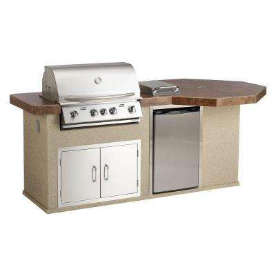 Aspen Q Ii Outdoor Kitchen Island With 4 Burner Natural Gas Grill In Stainless Steel With Space For Your Friends To Stand With T Let S Eat Outside Grill Island Small