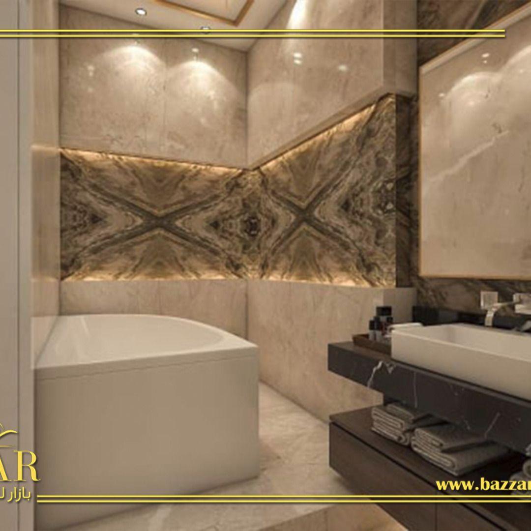 حمام مودرن بتصميم عصري ومميز واختار المصمم اللون البيج ليكن اللون الرئيسي لتلك التصميم مما اعطاه نوع من البساطه والرقه وتم توز Corner Bathtub Furniture Bathtub