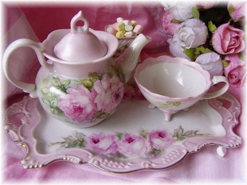 Handpainted Pink Roses Tea For One