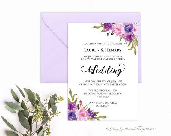 Lavender Invitation Template, Purple Lilac Watercolor Flowers - wedding template