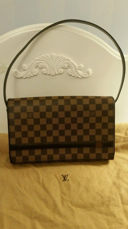 84bced42e596 AUTHENTIC Louis Vuitton LV Damier Ebene Tribeca Long Checkered Hand ...