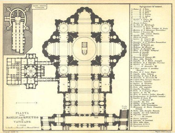 1926 St. Peters Basilica Floor Plan Vatican by