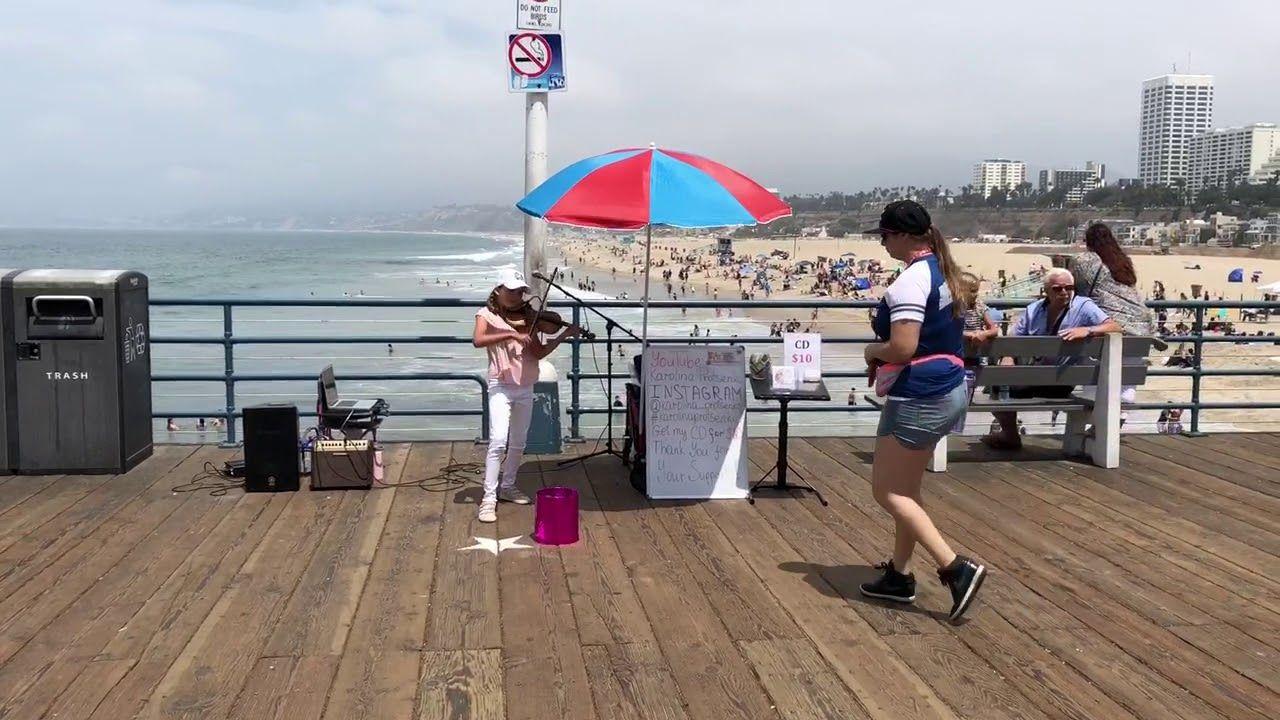 Despacito Karolina Protsenko Amazing 9 Yr Old Violin Santa Monica Pier Santa Monica Santa Monica Pier Violinist