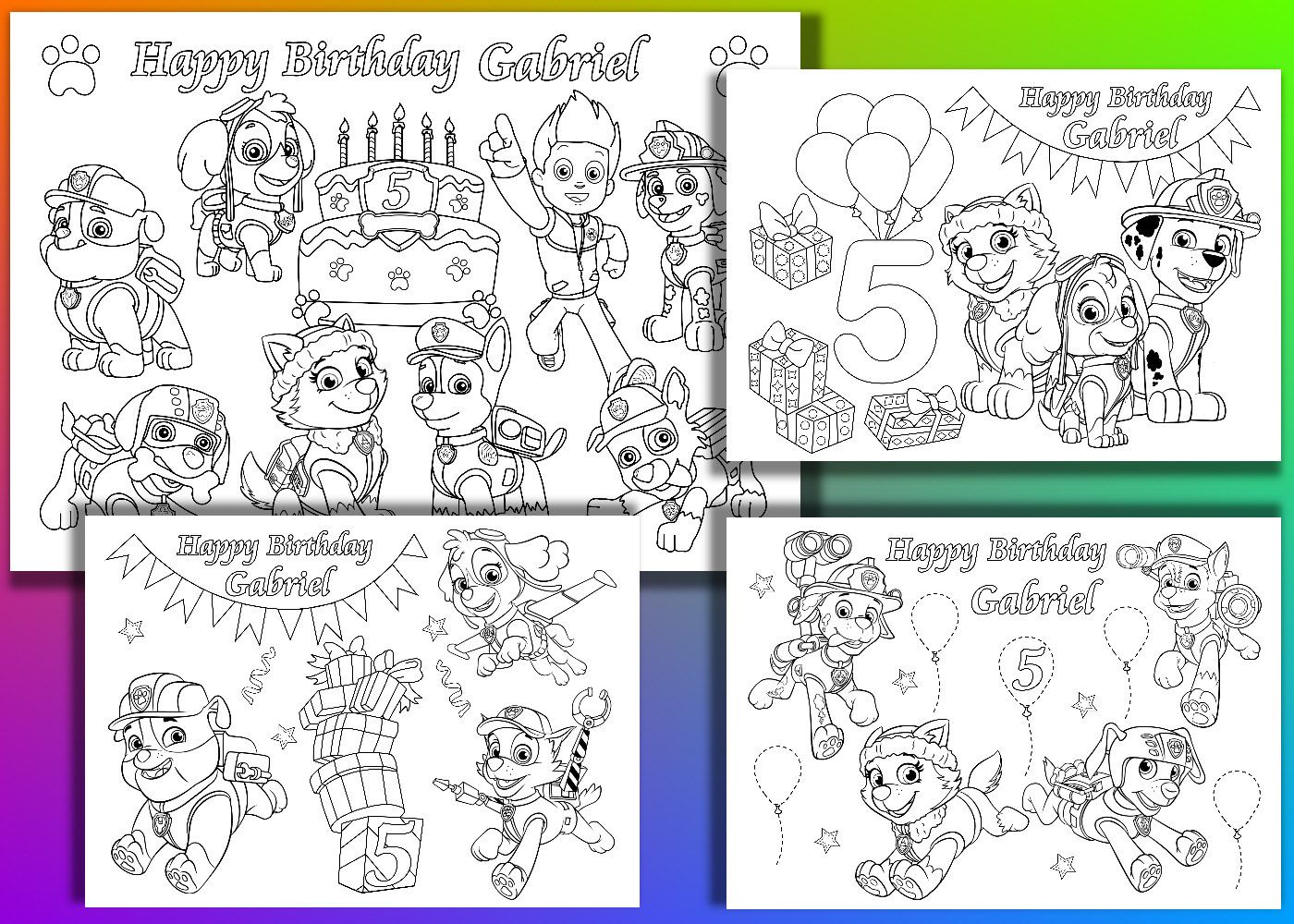 Happy Birthday Coloring Pages Paw Patrol Design
