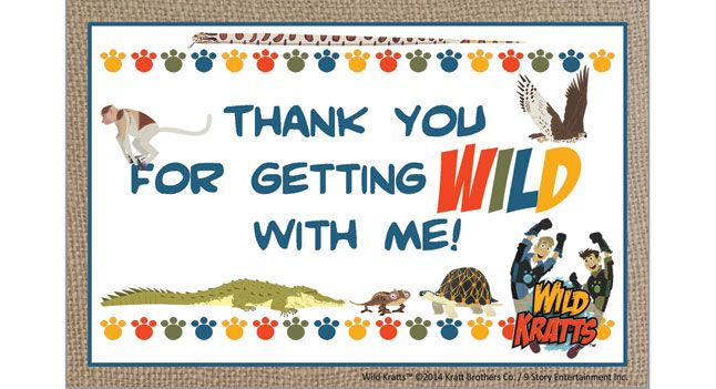 Wild Kratts Party Supplies Thank You Card  Birthday Parties