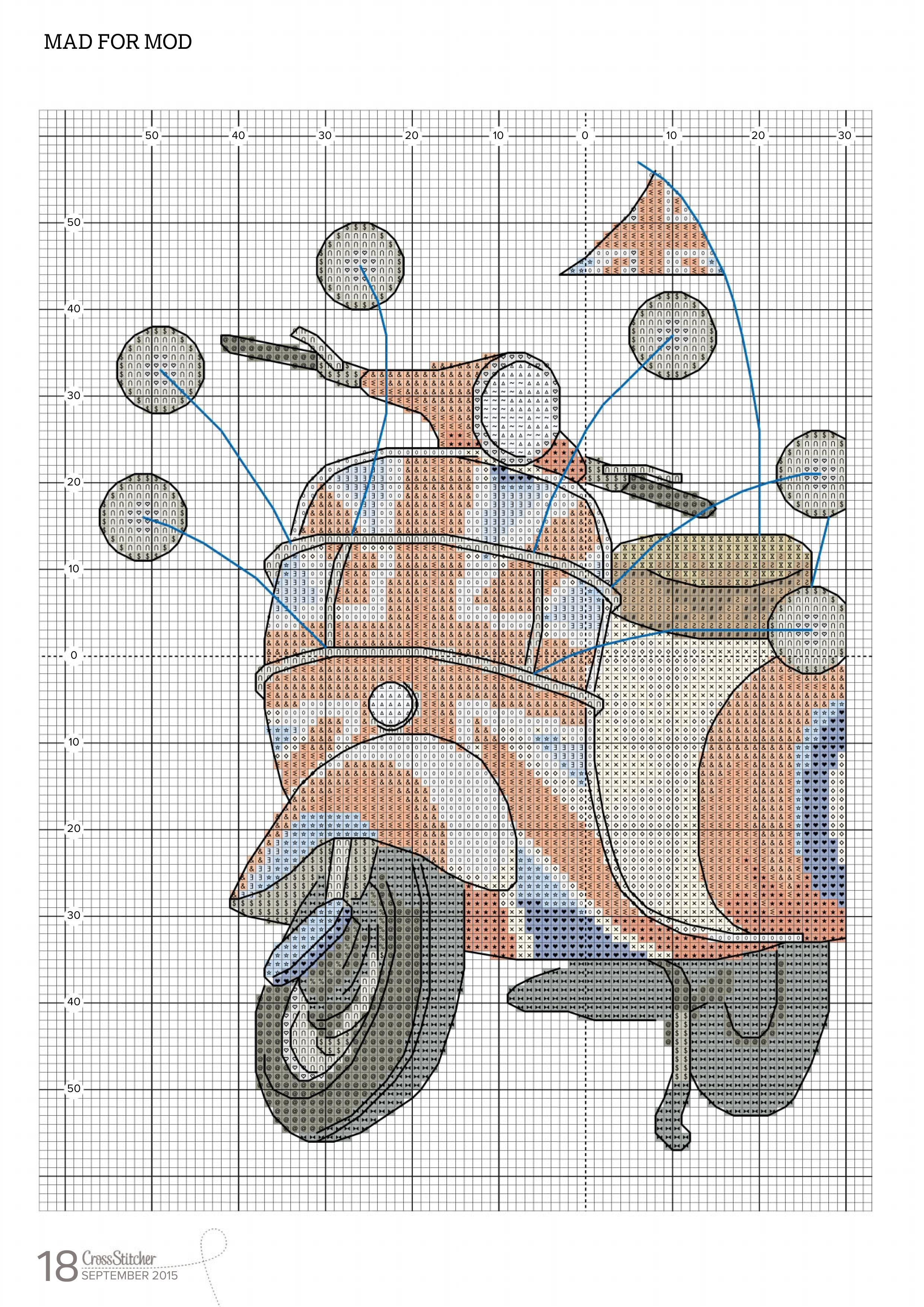 Mad For Mod From Cross Stitcher N°296 September 2015 2 of 5 | Coussin, Point de croix, Broderie