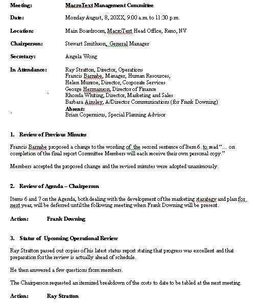 meeting minutes example - Google Search Business documents - business meeting minutes template word